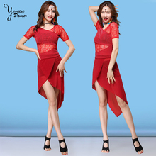 Black and Red Belly Dance Costume Dress Adult Sexy Lace Translucent Short Sleeve Modern Skirts 2020