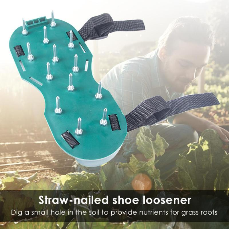 1 Pair Garden Nail Shoes Garden Yard Grass Cultivator Scarification Lawn Aerator Nail Shoes Tool