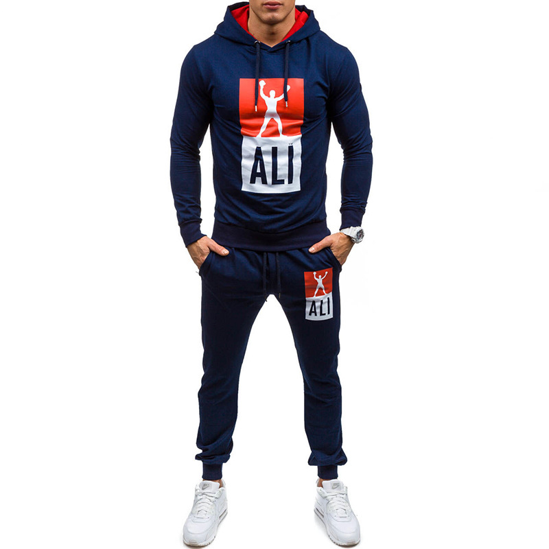 2020 New Style Europe And America Men Champion Printed Pullover Hoodie Sweatpants Sports Set Tz6204