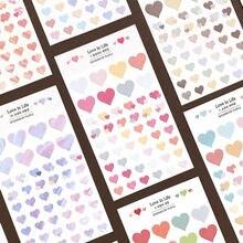 2 folhas (100 pces) bonito gradiente amor corações caderno diário adesivos adesivo decorativo