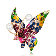 Retro drip brooch fashion diamond-encrusted painted insect butterfly corsage female AliExpress hot spot