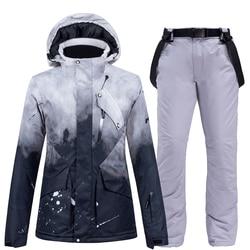 -30 °C cálido traje de esquí marca femenina chaquetas de esquí y pantalones calientes impermeables transpirables trajes de esquí y snowboard