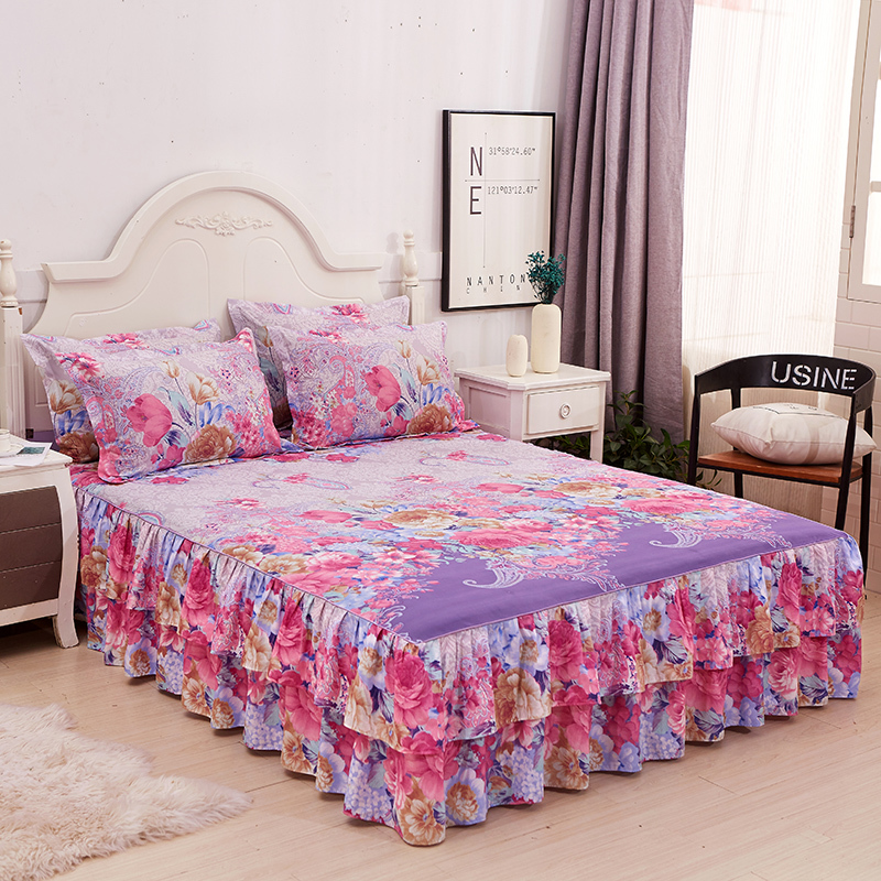 Yaapeet Bedskirt Floral Ruffled Bed Skirt Pastoral Cotton Quilted Lace Bedspread Drop Ship For Living Room 2 Free Pillow Case