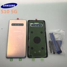 Original SAMSUNG Galaxy S10 + PLUS G977 G977F 5G กระจกด้านหลังแบตเตอรี่ด้านหลังเคสประตูฝาครอบกระจกด้านหลัง
