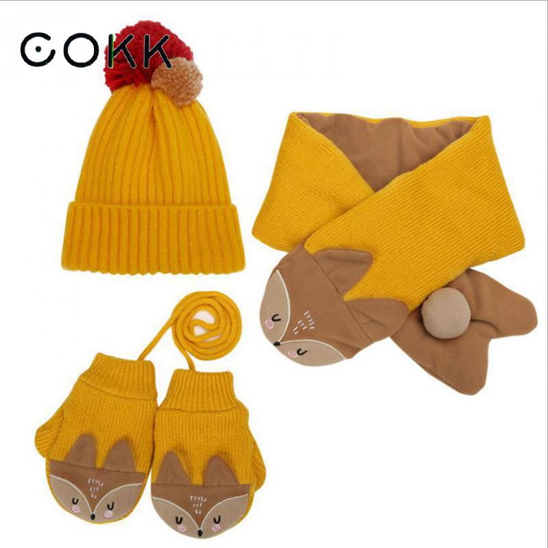 COKK Children Winter Hat And Scarf With Gloves Knitted Hat With Scarf Velvet Thickening Set Kids Hat & Scarf Cartoon Animals New