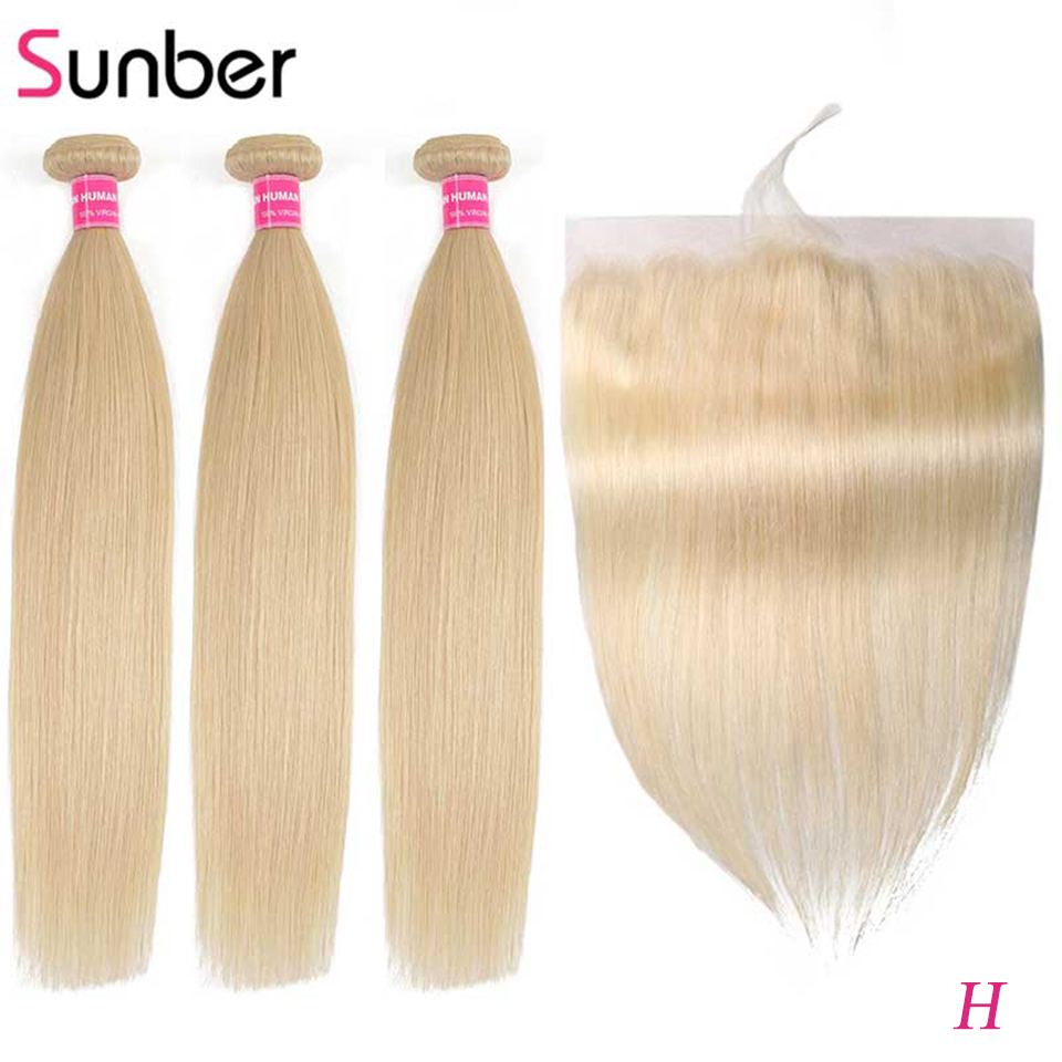 Sunber Hair Straight Blonde Hair Peruvian Hair 613 Bundles With Frontal Remy Human Hair Extension Bundles With Closure image