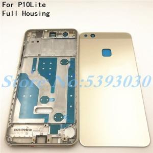 Image 1 - Wysokiej jakości pokrywa baterii P10 Lite dla Huawei P10 Lite pełna obudowa tylna szklana tylna obudowa + przednia rama LCD z bocznym kluczem