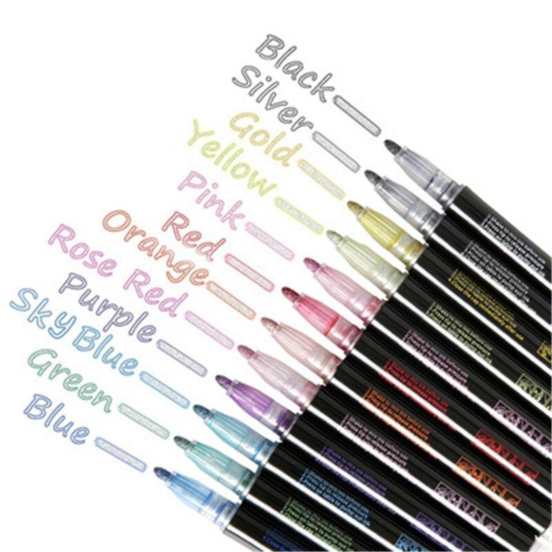 12 цветов DIY альбом Скрапбукинг маркер ручка металлический маркер контур ручка блеск для рисования набор для офиса школьные принадлежности