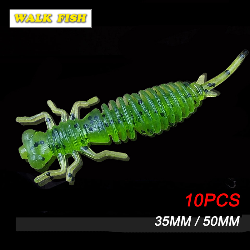 Walk Fish 10pcs Larva Soft Lures 35/50mm Artificial Lures Fishing Worm Silicone Bass Pike Minnow Swimbait Jigging Plastic Baits