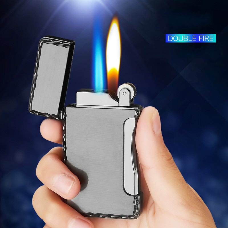 Two Flames Metal Lighter Torch Turbo Lighter Gas Lighter Cigar Cigarette Lighters Smoking Accessories Gadgets For Men