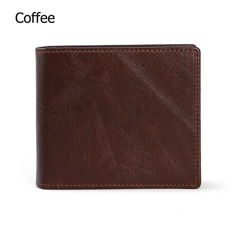 Мужские кошельки с блокировкой RFID, винтажный кошелек из натуральной коровьей кожи, мужской кошелек ручной работы на заказ, кошелек для монет по цене доллара, короткий кошелек carteira - Цвет: Coffee