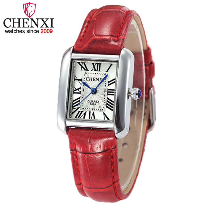 CHENXI Brand Women Red Leather Luxury Quartz Watch Casual Ladies Simple Wrist Watch Clock Female Creative Gift Montre Femme