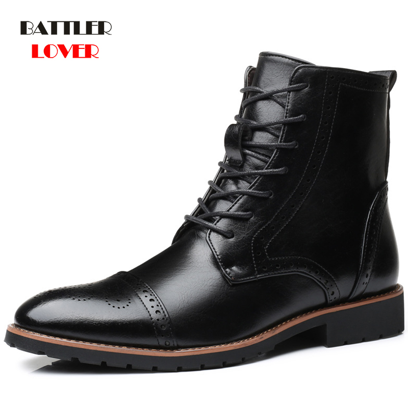 2019 Autumn NEW Men Boots Big Size 38-48 Vintage Brogue College Style Men Shoes Casual Fashion Lace-up Warm Boots For Man Brown