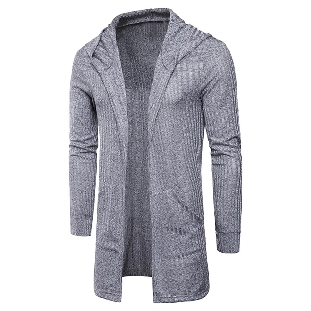Mens Knit Sweater Jacket Men Long Sweatercoat Long Sleeve Hooded Sweater Coat Outerwear Men Casual Sweater Cardigan