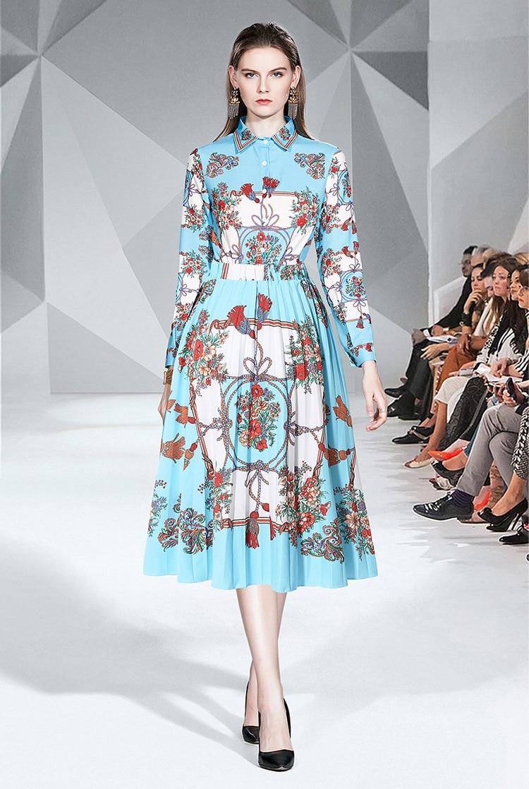 Photo Shoot Elegant Fold-down Collar Long Sleeve Print Shirt + Fashion Printed Pleated Medium-length Dress Set