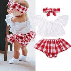Cute Newborn Baby Girl Summer Clothes 3pcs Off Shoulder Tops+Plaid Short Dress+Headband Outfits 0-24M New