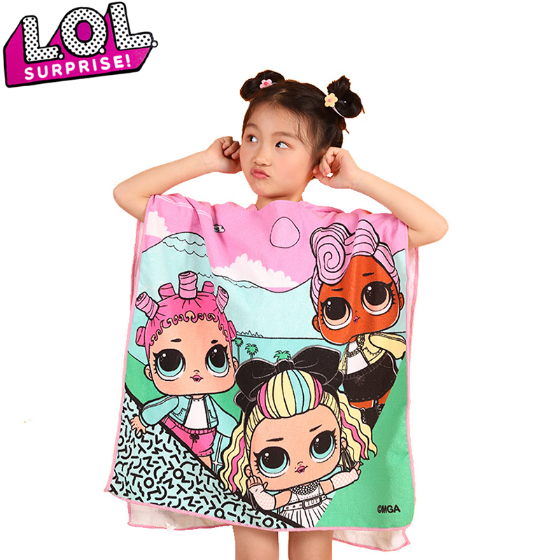 LOL Surprise Bath Towel Cape Hooded Cape Bathrobe Microfiber Cartoon Cute Beach Towel Dolls Dress Model Toys Party Gift For Kid