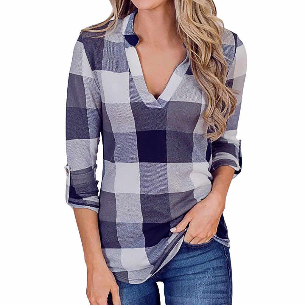 Женская футболка с длинными рукавами Осень и зима модные женские s v-образным вырезом с длинными рукавами клетчатый принт легкие Топы рубашка