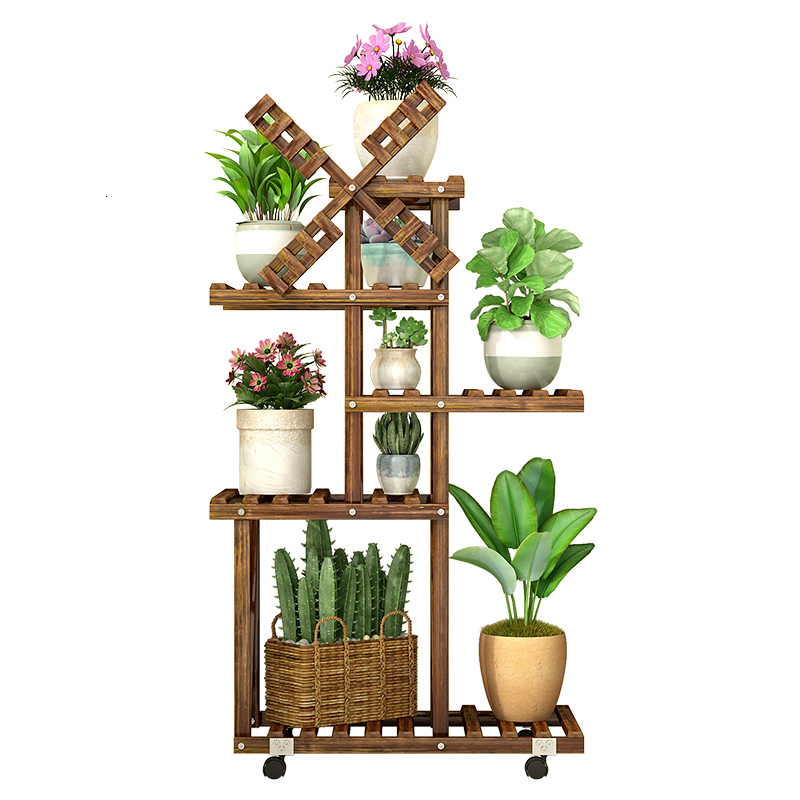 Multi-storey Room Built-in Rack Balcony Iron Art A Living Room Solid Wood Landing Type Botany Flowerpot Frame