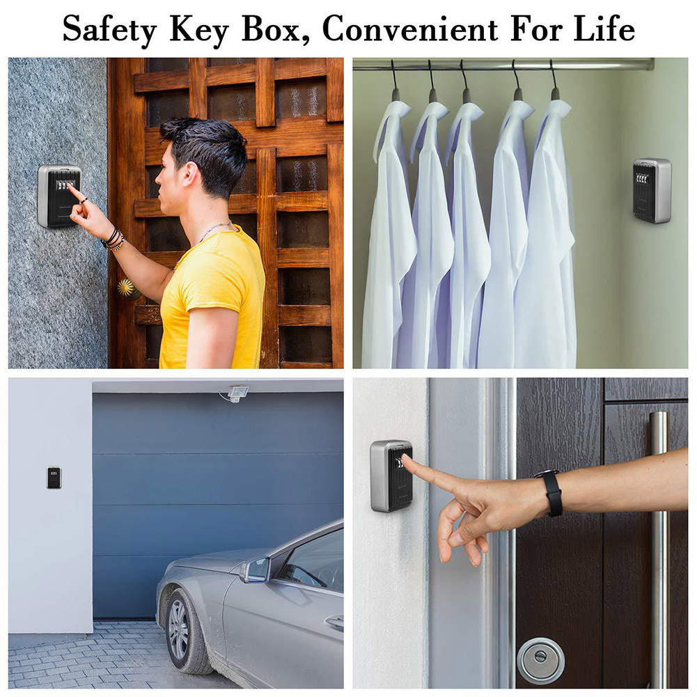 Wall Mounted/Padlock 4-Digit Combination Key Lock Storage Safe Security Box Home Office DQ-Drop