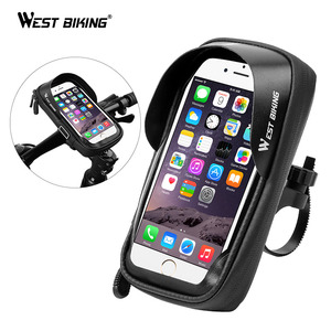 WEST BIKING Bike Rack Waterproof Bicycle Mobile Phone Holder Stand Motorcycle Handlebar Mount Bag For iPhone Samsung Phone Mount(China)