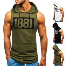 Sports Men's Clothing Men Fitness Muscle Print Sleeveless Hooded Bodybuilding Pocket Tight-drying Tops High Quality Fashion