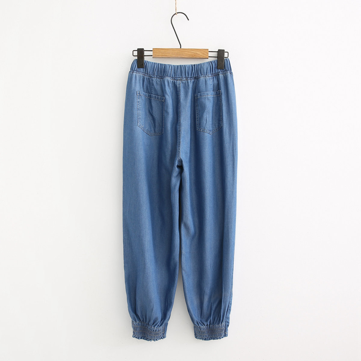 19 Summer New Style Casual Simple Korean-style Pumping Elastic Waist Loose-Fit Thin Cowboy Closing Harem Baggy Pants 8035