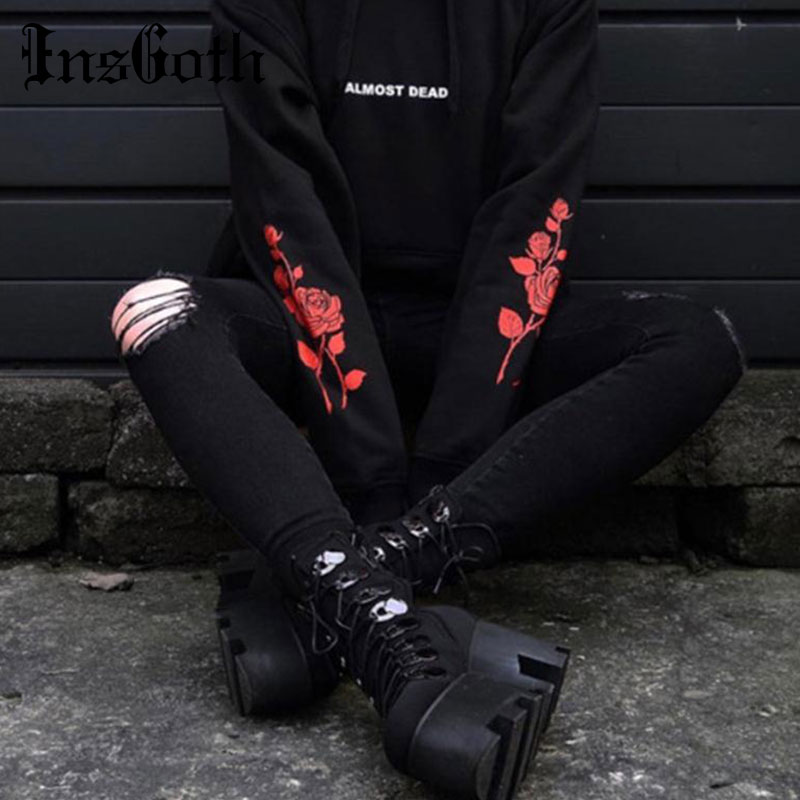 InsGoth Women Sweatshirt Loose Hoody Harajuku Grunge Gothic Punk Black Hoodies Rose Letter Printed Vintage Hoodie Pullovers Tops
