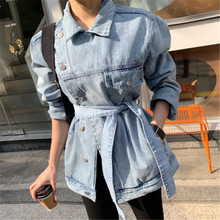 asymmetrical women denim coats lace up long sleeve female jeans coat spring autumn oversize casual