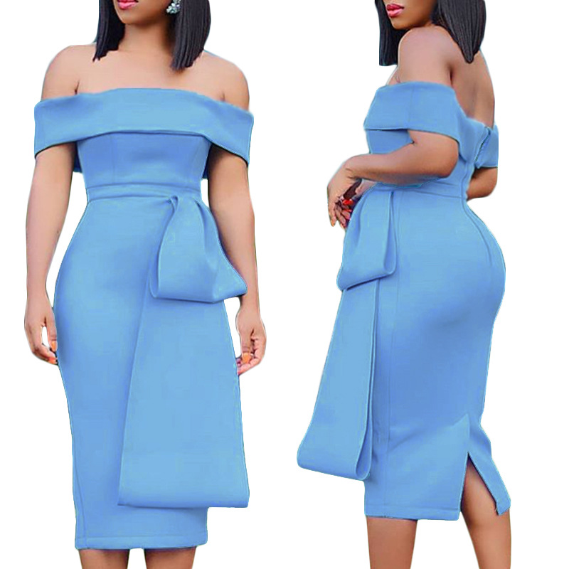 Long Sleeve Knee Length Robe Soiree Dubai Blue Cocktail Dresses 2020 Abiye Gece Elbisesi Back Slit Homecoming Dress With Bow
