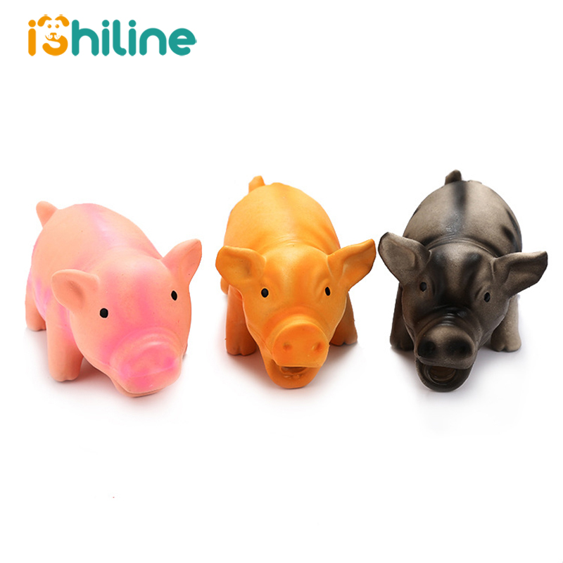 Dog Toy Funny Cute Pig Grunting Squeak Latex Pet Chew Toys for Dog Squeaker Chew Training Pet Products Latex sounding toy(China)