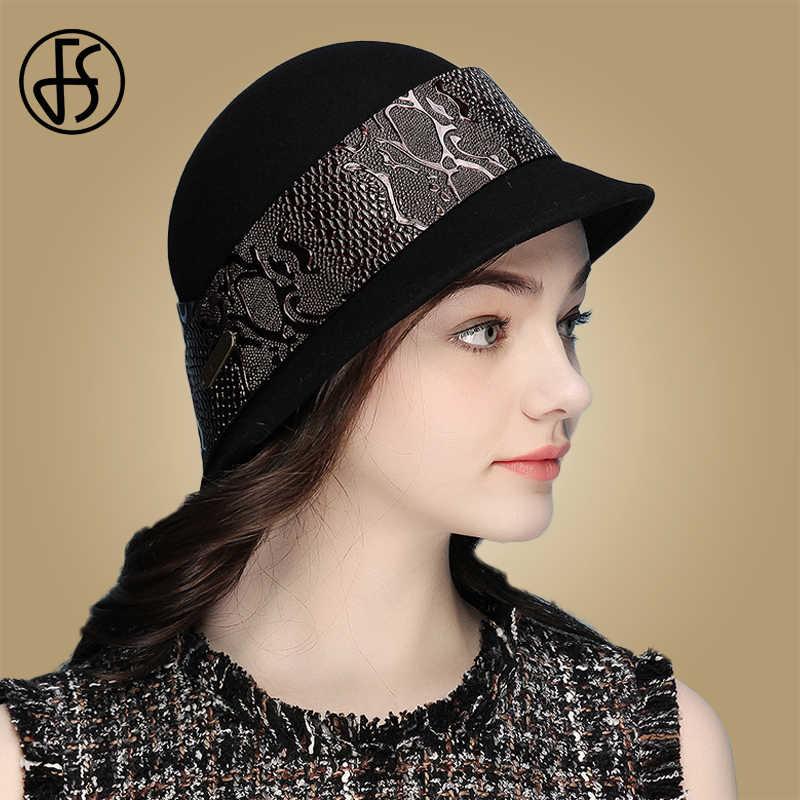 FS Elegan Wanita 100% Wol Merasa Cloche Topi Fedora Wanita Kelas Atas Perjamuan Formal Topi Musim Dingin Hangat Hitam Church Derby pesta Cap
