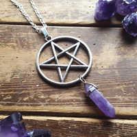Colgante de pentagrama y violeta de tono plateado antiguo con ojo de tigre de cristal hexagonal adecuado para regalo de joyería de mujer