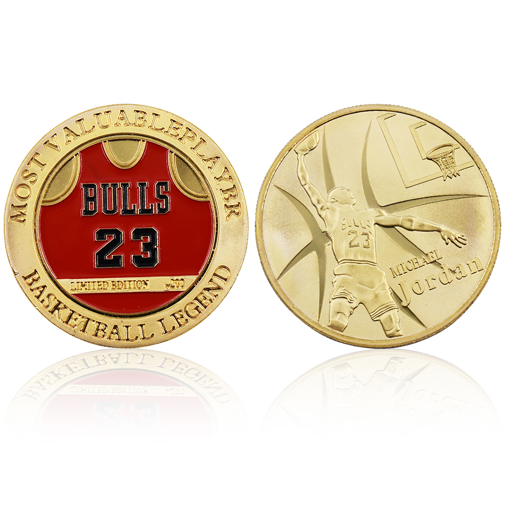 Michael Jordan Metal Commemorative Coin Basketball Fans Gift Bull Jordan Gold Plated Challenge Coin With Collection