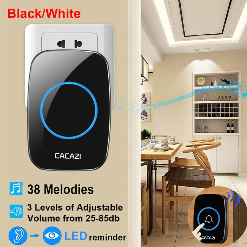 Black Waterproof Intelligent Mini Doorbells Remote Wireless Anti-interference Jingle Bell For Home Security Alarm System