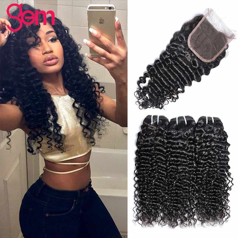 Deep Curly Bundles With Closure Human Hair  3 / 4 Bundles With Lace Closure GEM Remy Peruvian Hair Deep Wave Bundle With Closure
