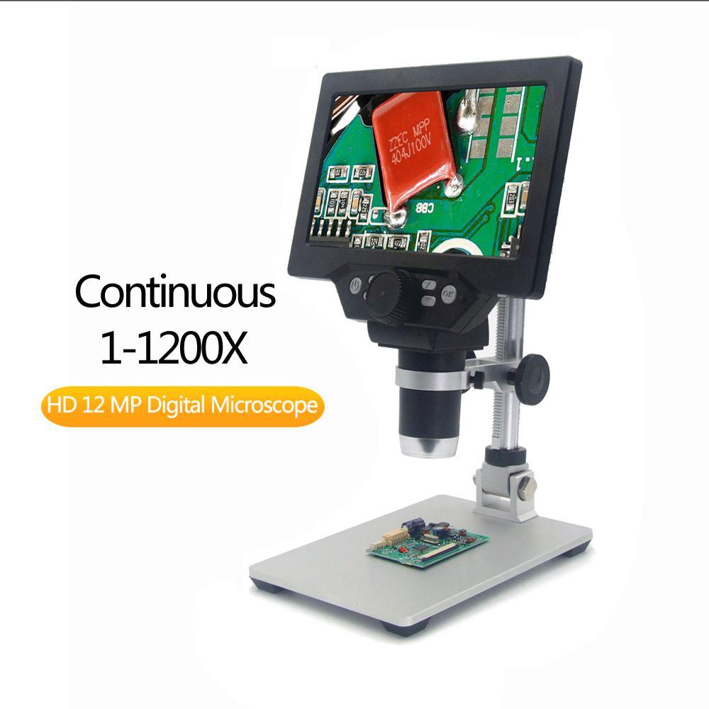 Microscope vidéo numérique, Microscope numérique 1 1200X G1200 Microscope vidéo électronique de 7 pouces à affichage LCD, loupe à amplification continue de 12MP avec batterie - 3