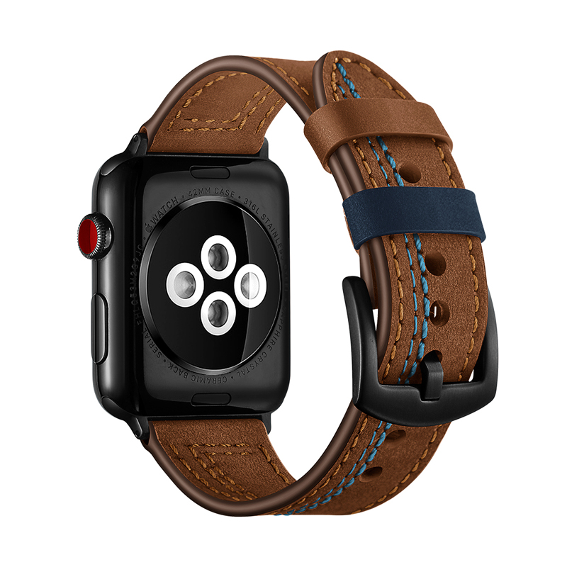 Genuine Leather watch strap for apple watch band 42mm 38mm 3 2 1 bracelet bracelet for iwatch band 4 44mm 40mm correa in Watchbands from Watches