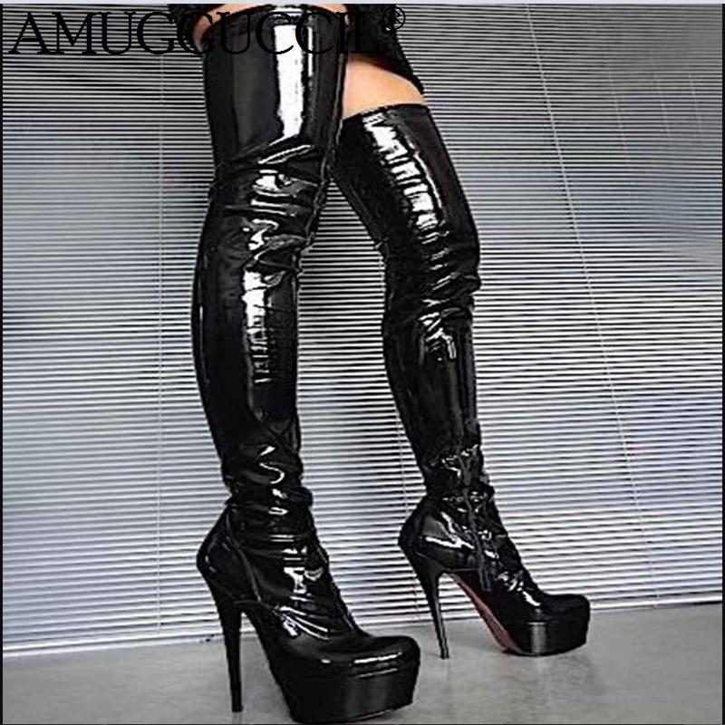 2020 New Plus Big Size 34-52 Black Zip Fashion Sexy Thigh High Heel Platform Over The Knee Autumn Winter Ladies Women Boot X1854