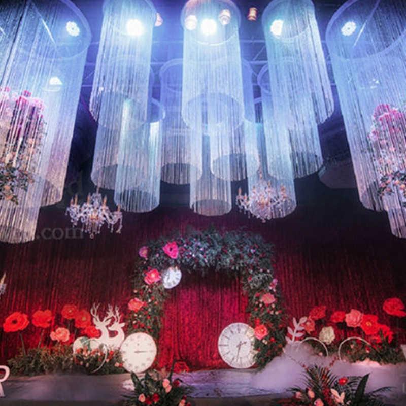 Nappa lucida linea argento corda tenda moda Valance soggiorno divisore matrimonio fai da te decorazione della casa porta della finestra 300x290cm