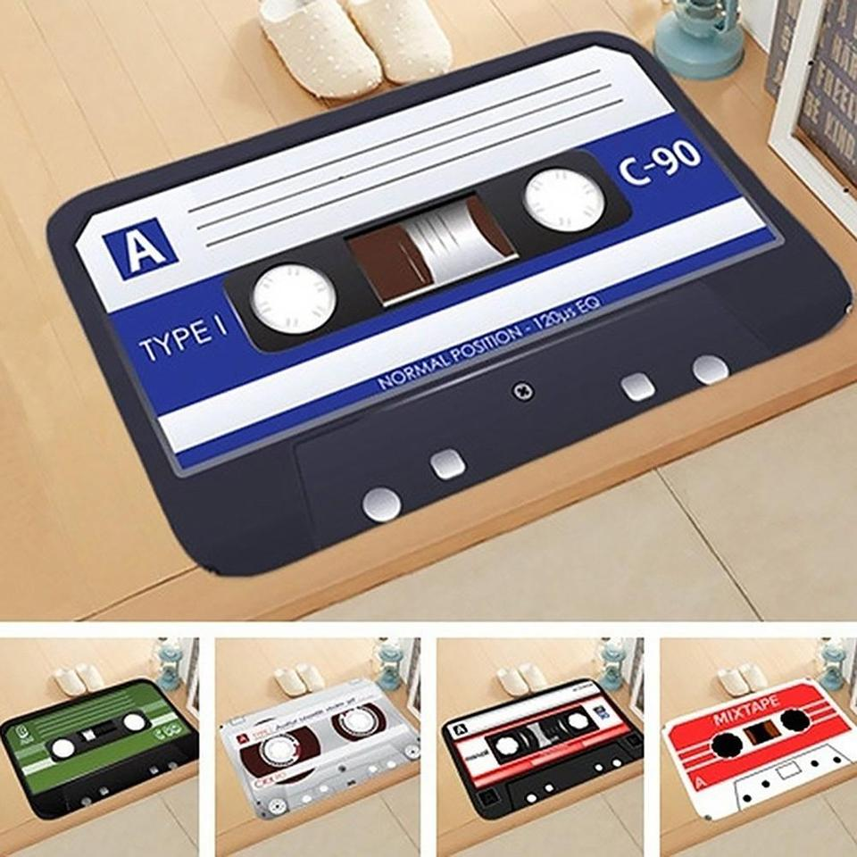 Home Vintage Nostalgia Tape Mat Anti Slip Floor Rug Door Cassettes Safe Pa|JCDD