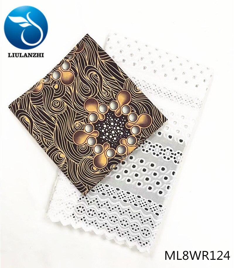 LIULANZHI africain coton tissus blanc coton voile dentelle + ankara réel cire tissu prix de gros 2.5 + 3yards ML8WR123-ML8WR135