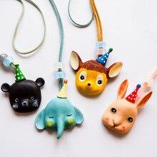 Kids Children Girl Necklace Cute Cartoon Animal Bear Elephant Rabbit Korean Handmade Gifts Apparel Accessories Wholesale