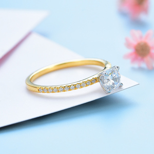 Image 3 - Kuololit Real 10K Yellow gold Natural Moissanite Rings for Women VVS D color Solitaire set ring for anniversary wedding promise