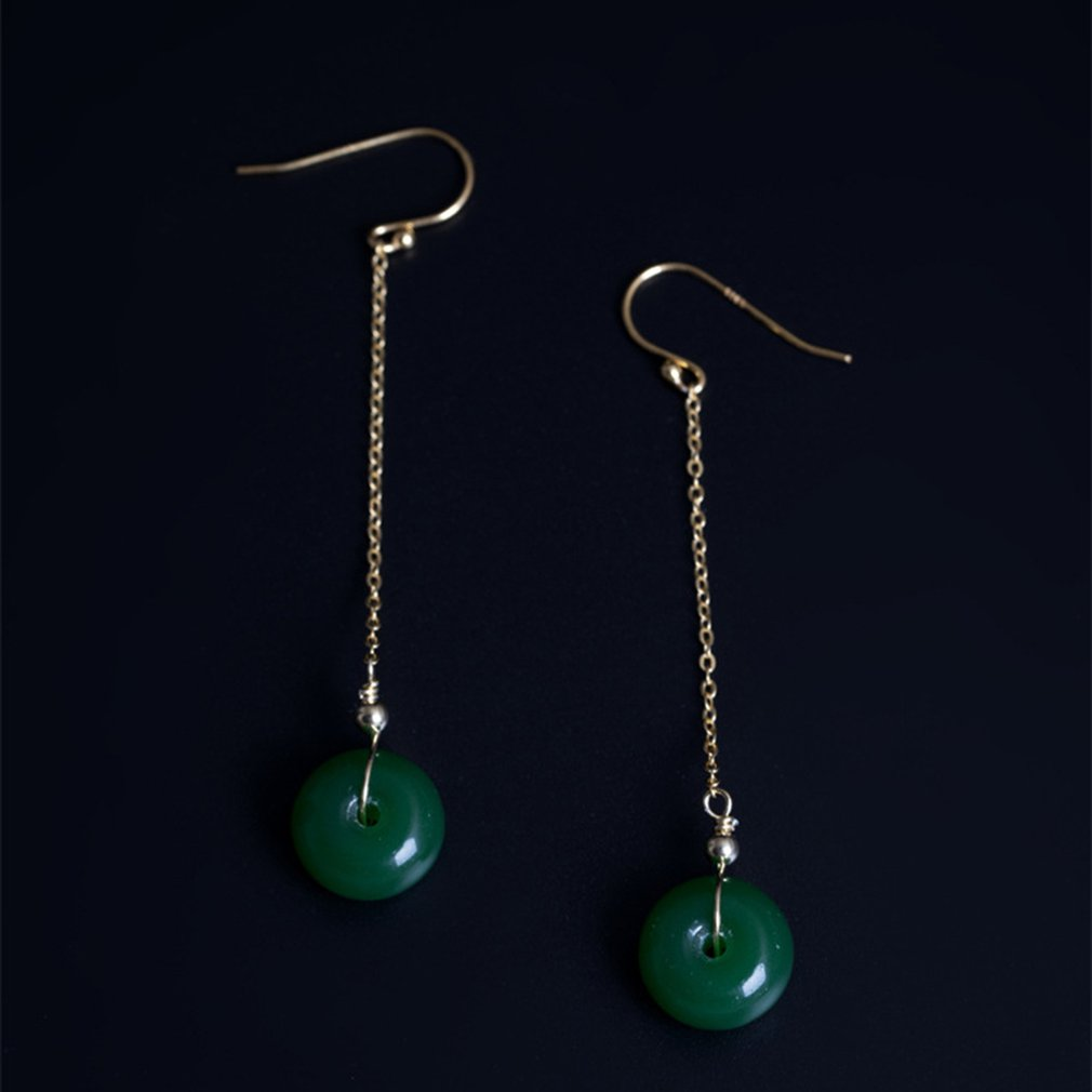 S925 Silver Natural Green Glass Safety Buckle Earrings Female Diy Handmade Ancient Culture Earrings Gold in Drop Earrings from Jewelry Accessories