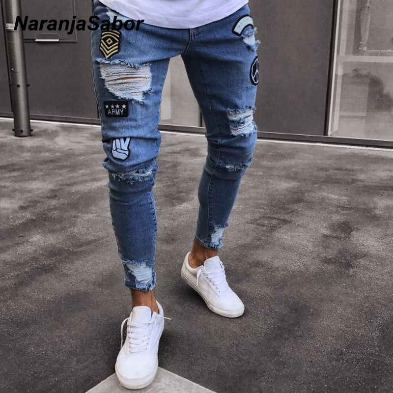 NaranjaSabor 2020 Spring Mens Jeans Hole Embroidered Slim Denim Pants Classic Cowboys Fashion Trousers Male Brand Clothing N653