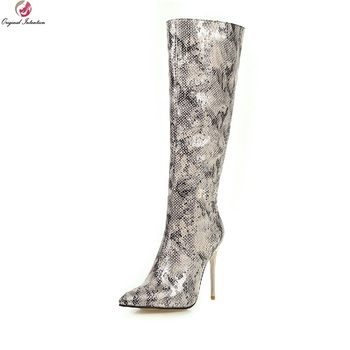Original Intention New Snake Leopard Printing Knee High Boots Woman Pointed Toe Metal Super Thin Heels Sexy Concise Shoes Female