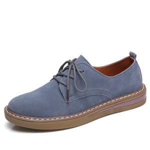 Image 1 - פרה זמש עור נשים דירות אוקספורד נעלי אביב גבירותיי מקרית סניקרס נעלי נעל 2018 מוקסין בתוספת גודל סתיו סירת נעליים