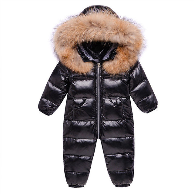 -30 Russia Winter White Duck Overalls Snowsuits Baby Kids Boys Girls Thick Down Coat Clothes Toddler Infant Warm Parka Jacket 3Y 8
