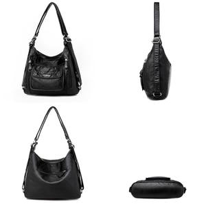 Image 5 - Hot Leather Luxury Handbags women bags designer Multifunction Shoulder Bags for Women 2020 Travel Back Pack Mochila Feminina Sac